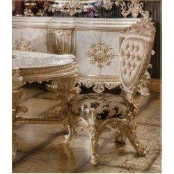 Белый обеденный стул с золотом Элит