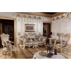 Классический белый комплект мягкой мебели в золоте Элит