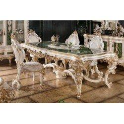 Белый обеденный стол с золотолй патиной Глори ( GLORY)