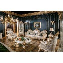 Белый мягкий диван с креслами Глори в холл в стиле барокко