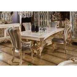 Белый обеденный стол с золотой патиной Пера (PERA)