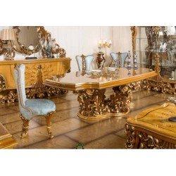Большой обеденный стол на резной фигурной ноге Рива