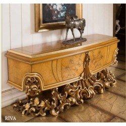 Ореховая резная тумба под телевизор в стиле барокко Рива (RIVA)