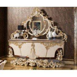 Белый резной буфет сзеркалом в стиле барокко Рива (RIVA)