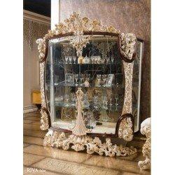 Белая резная витрина для посуды Рива (RIVA)