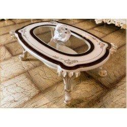 Белый журнальный столик со стеклом Рива