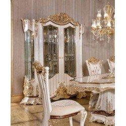 Белая двухдверная витрина для посуды Роял