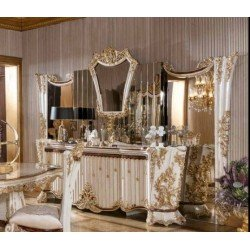 Классический белый буфет с большим зеркалом Роял