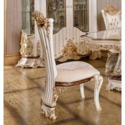 Высокий белый обеденный стул Роял в стиле барокко