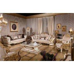 Белый классический диван с креслами и софой Роял в холл