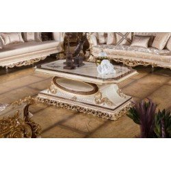 Белый резной прямоугольный столик в стиле барокко Роял