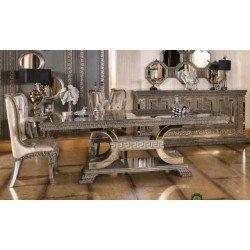 Большой прямоугольный обеденный стол Версаче в цвете серебро
