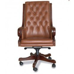 Кожаное коричневой кресло РОЯЛ для руководителя