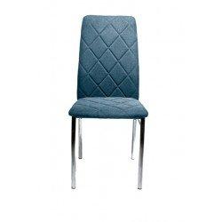 Голубой обеденный стул на хромированных ногах Флеш