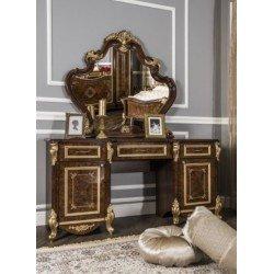 Туалетный стол с зеркалом и пуфом Империал в стиле барокко