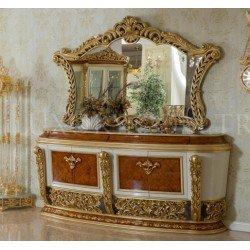 Буфет с зеркалом в цвете орех Роелла