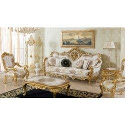 Классический резной диван с креслами София