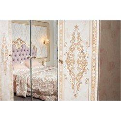 Белый глянцевый шкаф для одежлы для спальни Аманда