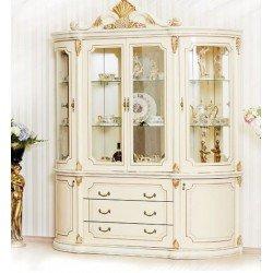 Белая витрина для гостиной комнаты в стиле барокко Меланж