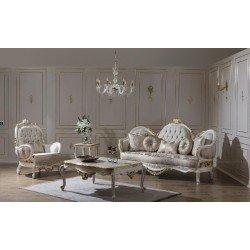 Белый резной диван с креслами МИЯ. FER